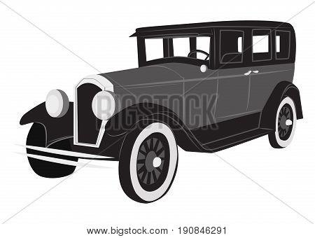 Old retro car simple monochrome vector illustration