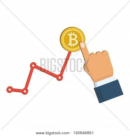 Up and Down graph with bitcoin sign in flat icon design on white color background