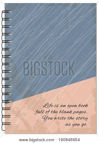 Hand drawn abstract retro design for decorate book notebook case stationery. Mock up of the notebook. Cover A5 template. EPS 10.