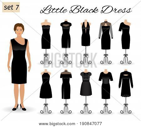 Woman model character dressed in little black gown. Set of cocktail dresses on a mannequins. Flat vector illustration.
