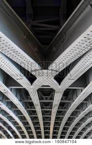 Parallel Joined Steel Beams Supporting Bridge Span
