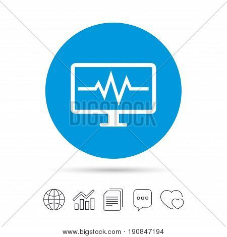 Cardiogram monitoring sign icon. Heart beats symbol. Copy files, chat speech bubble and chart web icons. Vector