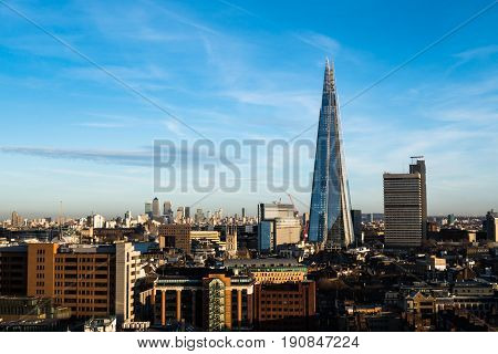 London Skyline With The Shard And Canary Wharf In Background