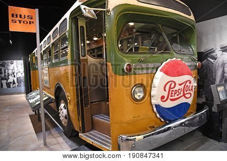 Memphis, TN, USA - June 9, 2017: Bus display at Rosa Parks exhibit at the National Civil Rights Museum and the site of the Assassination of Dr. Martin Luther King Jr.