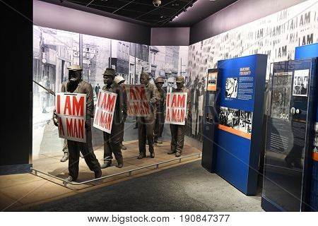 Memphis, TN, USA - June 9, 2017: I am A Man exhibit as part of the National Civil Rights Museum and the site of the Assassination of Dr. Martin Luther King Jr.