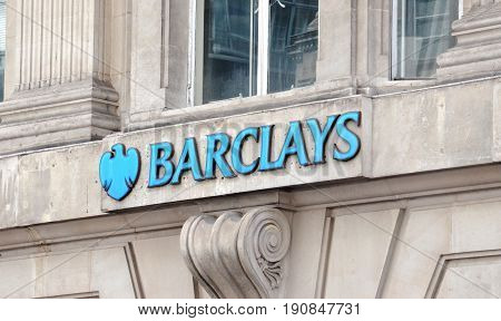 LONDON - AUGUST 6: A London Barclays branch logo is shown here on August 6 2015. Barclays has over 4750 branches in about 50 countries.