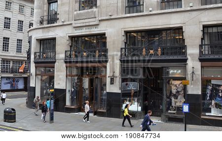LONDON - AUGUST 6: London Burberry store is shown here on August 6 2015. There are over 500 Burberry stores in over 50 countries.