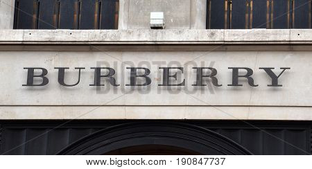 LONDON - AUGUST 6: A London Burberry store logo is shown here on August 6 2015. There are over 500 Burberry stores in over 50 countries.