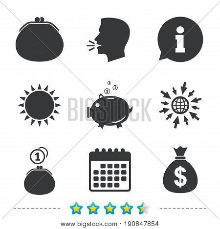 Wallet with cash coin and piggy bank moneybox symbols. Dollar USD currency sign. Information, go to web and calendar icons. Sun and loud speak symbol. Vector