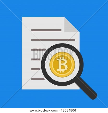Abstract icons of bitcoin analytics report, business statistics and datum graphic information for analyzing and forecasting. Unusual flat design line icons set unique art vector illustration concept.