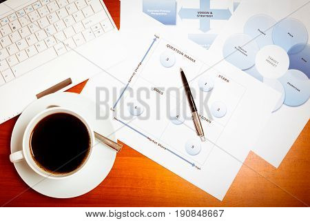 desk with laptop, cup of coffee and various documents used for strategic business planning, including a balanced scorecard, a bcg matrix and a marketing mix chart