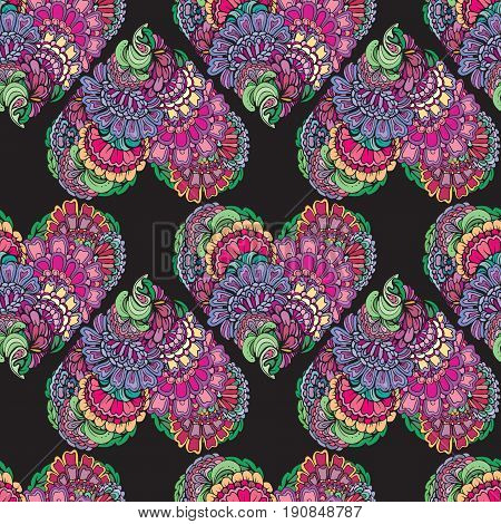Abstract decorative seamless pattern with hand drawn floral elements in heart shape.