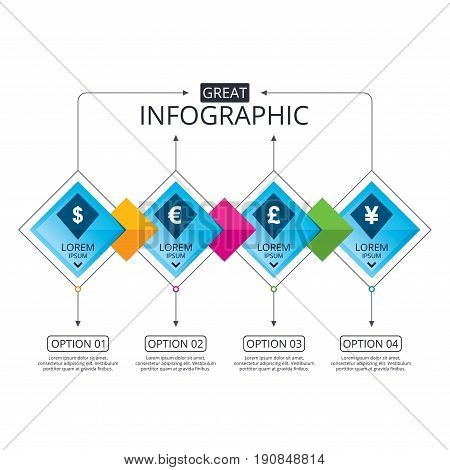 Infographic flowchart template. Business diagram with options. Dollar, Euro, Pound and Yen currency icons. USD, EUR, GBP and JPY money sign symbols. Timeline steps. Vector