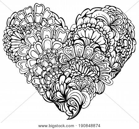 Abstract black paisley ornament in heart shape isolated on white background. Element for Valentines day card wedding invitation love design. Image for coloring book.