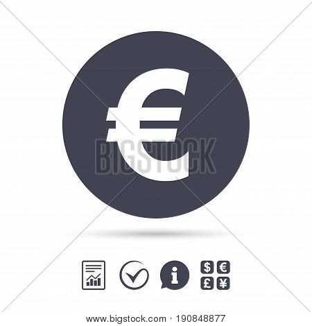 Euro sign icon. EUR currency symbol. Money label. Report document, information and check tick icons. Currency exchange. Vector