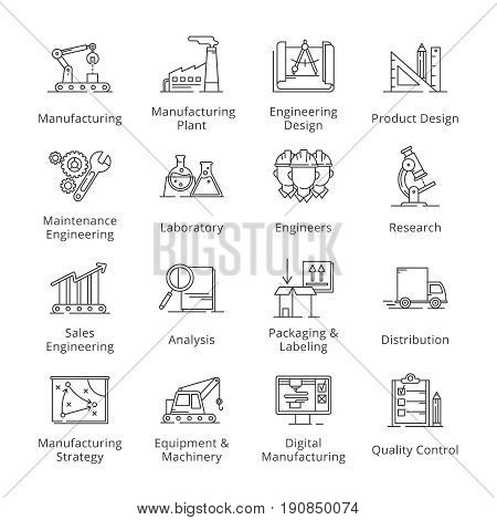 This set contains manufacturing engineering icons that can be used for designing and developing websites, as well as printed materials and presentations.
