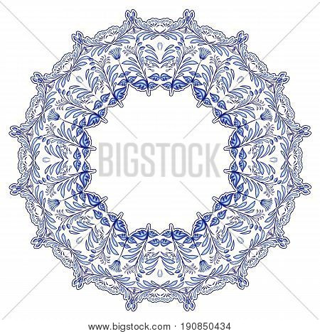 Round floral frame in the style of ethnic mandala painting on porcelain. Stylisation by Russian gzhel style. Vector illustration