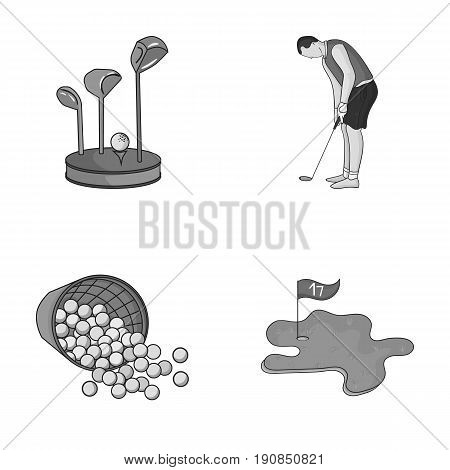 Stand for a golf club, muzhchin playing with a club, basket with balls, label with a flag on the golf course. Golf Club set collection icons in monochrome style vector symbol stock illustration web.