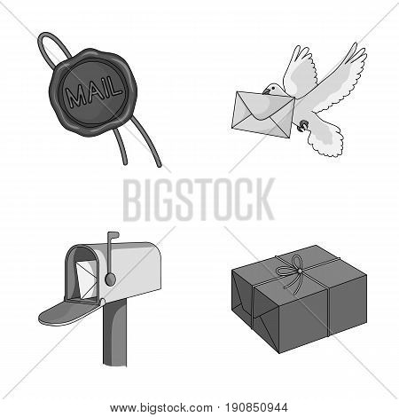 Wax seal, postal pigeon with envelope, mail box and parcel.Mail and postman set collection icons in monochrome style vector symbol stock illustration .
