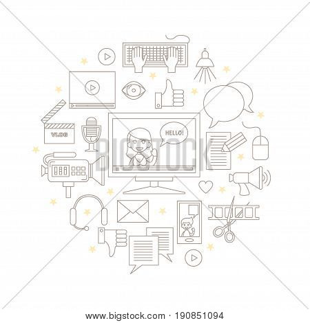 Videoblogging. Vector illustration for social media and modern communications. Concept for digital online blog, video marketing, blogger's work. Thin line icons. Isolated on white.