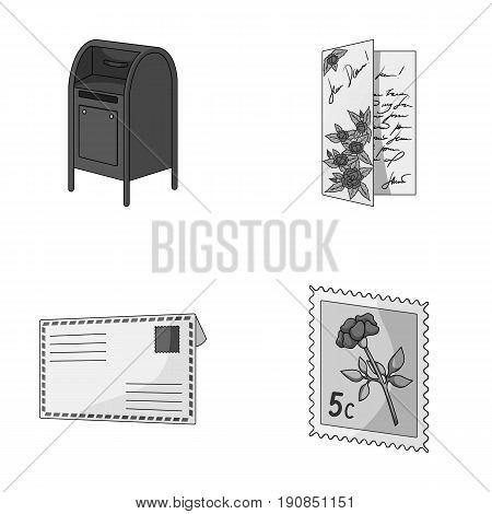 Mailbox, congratulatory card, postage stamp, envelope.Mail and postman set collection icons in monochrome style vector symbol stock illustration .
