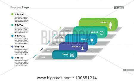 Five blocks timeline process chart slide template. Business data. Year, diagram, design. Creative concept for infographic, presentation. Can be used for topics like research, management, marketing.