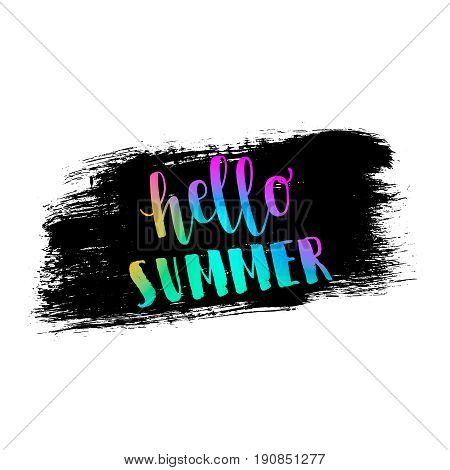 Hello summer neon memphis 80x background with grunge stain texture. Minimal printable journaling card, creative card, art print, minimal label design for banner, poster, flyer.