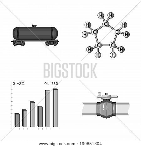 Railway tank, chemical formula, oil price chart, pipeline valve. Oil set collection icons in monochrome style vector symbol stock illustration .