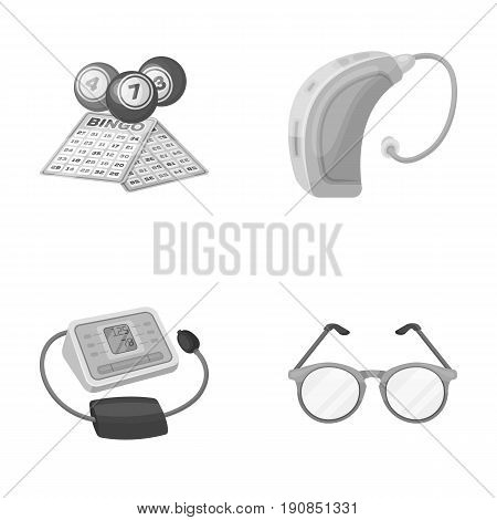 Lottery, hearing aid, tonometer, glasses.Old age set collection icons in monochrome style vector symbol stock illustration .