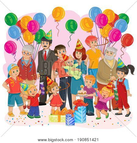 Vector illustration of a big happy family - grandfather, grandmother, dad, mom, daughters and sons, cousins - together celebrate a birthday with gifts, balloons and cake
