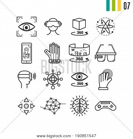 Vector outline set of virtual reality entertainment modern computer icons. The seventh series of symbols