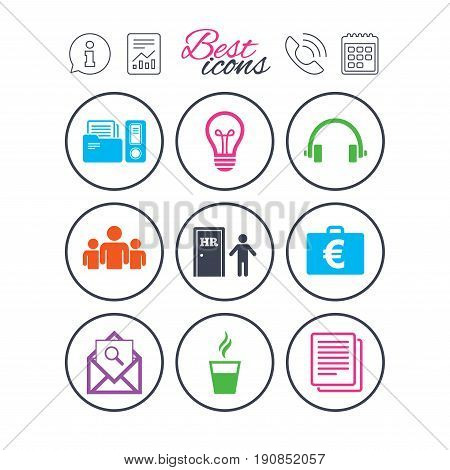 Information, report and calendar signs. Office, documents and business icons. Accounting, human resources and group signs. Mail, ideas and money case symbols. Phone call symbol. Vector