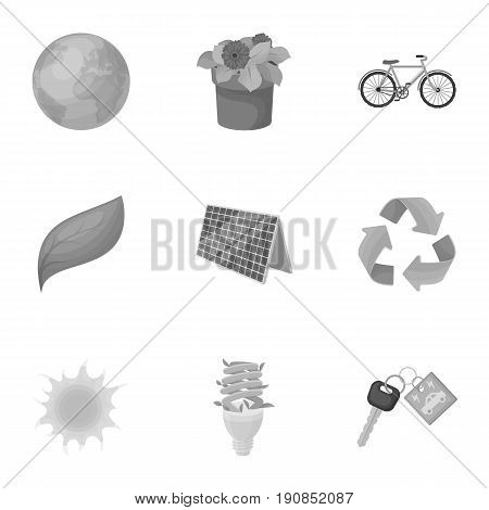 The ecology of the earth, the problems of ecology, ways to combat the ravages.Bio and Ecology icon in set collection on monochrome style vector symbol stock web illustration.