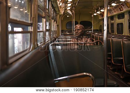 Memphis, TN, USA - June 9, 2017: Sculpture of Rosa Parks inside bus at the National Civil Rights Museum and the site of the Assassination of Dr. Martin Luther King Jr.