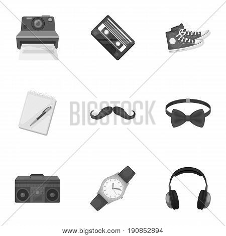 A set of icons about the style of a hipster. A peculiar youth style. Hipster style icon in set collection on monochrome style vector symbol stock web illustration.