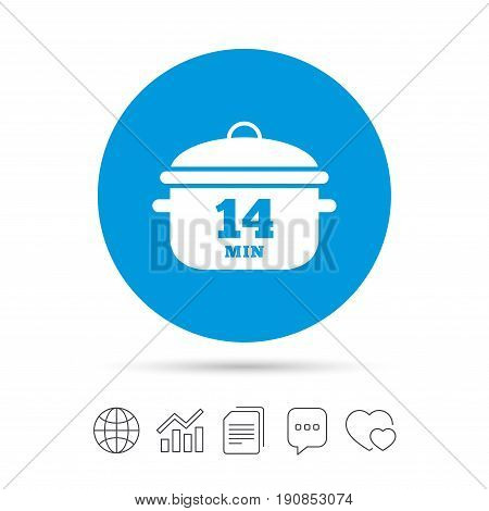 Boil 14 minutes. Cooking pan sign icon. Stew food symbol. Copy files, chat speech bubble and chart web icons. Vector