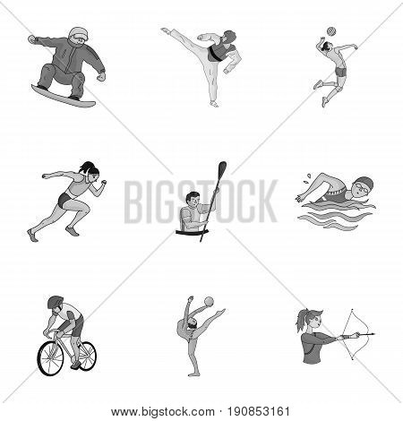 Olympic sports. Winter and summer sports. A set of pictures about athletes.Olympic sports icon in set collection on monochrome style vector symbol stock web illustration.
