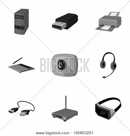 Computer accessories. Headphones, computer parts, accessories.Personal computer icon in set collection on monochrome style vector symbol stock web illustration.
