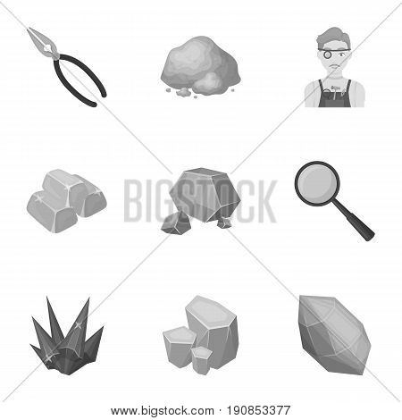 A set of jewelry, crystals, minerals and expensive metals. The jeweler inspects the ornaments.Precious minerals amd jeweler icon in set collection on monochrome style vector symbol stock web illustration.