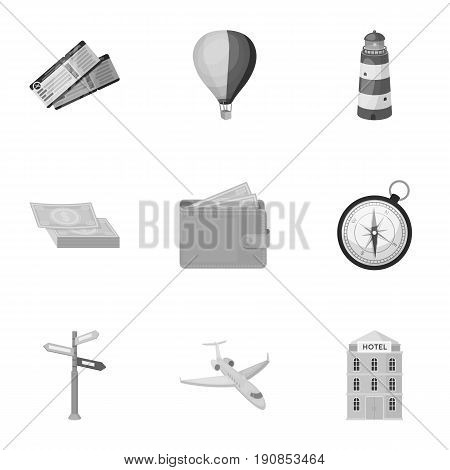 Set of icons on the theme of rest. Travel abroad. Rest ang travel icon in set collection on monochrome style vector symbol stock web illustration.
