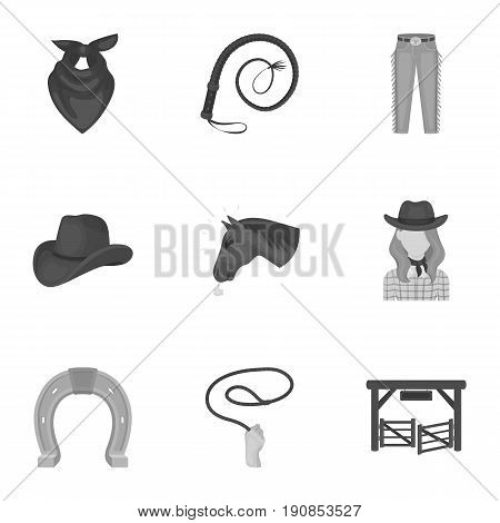 A set of pictures about cowboys. Cowboys on the ranch, horses, weapons, whips.Rodeo icon in set collection on monochrome style vector symbol stock web illustration.