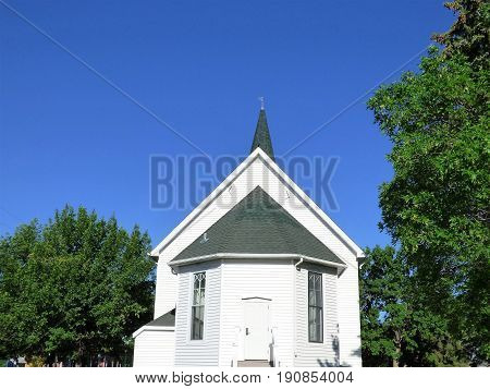 The back side of a old country church.