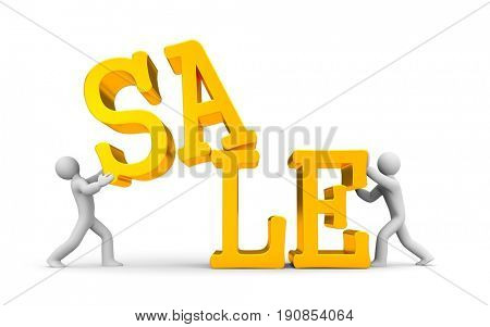 People with gold word sale. 3d illustration