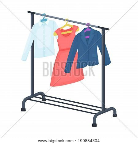 A hanger with things in the wardrobe.Making movie single icon in cartoon style vector symbol stock illustration .