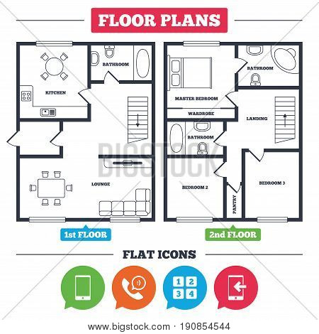Architecture plan with furniture. House floor plan. Phone icons. Smartphone incoming call sign. Call center support symbol. Cellphone keyboard symbol. Kitchen, lounge and bathroom. Vector