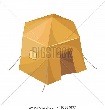 Tourist tent.Tent single icon in cartoon style vector symbol stock illustration .