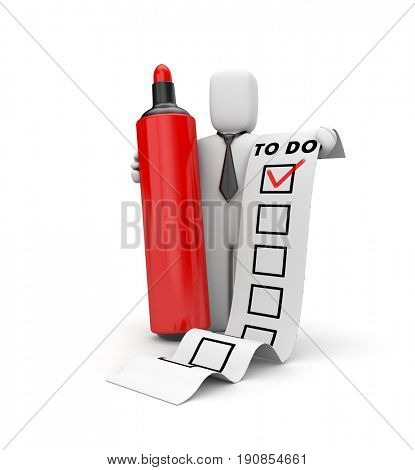 Businessman and TO DO list. Checklist metaphor. 3d illustration