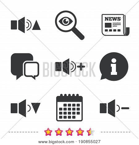 Player control icons. Sound louder and quieter signs. Dynamic symbol. Newspaper, information and calendar icons. Investigate magnifier, chat symbol. Vector