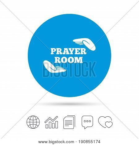 Prayer room sign icon. Religion priest faith symbol. Pray with hands. Copy files, chat speech bubble and chart web icons. Vector