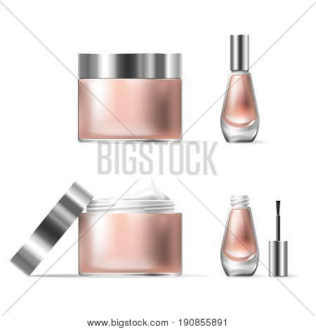 Vector illustration of a realistic style of transparent glass cosmetic containers with open silver lid. Jar for lotion, hand cream and cuticle remover, nail polish